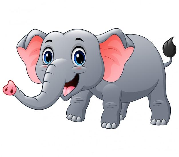 Caricature d'éléphant heureux sur un blanc
