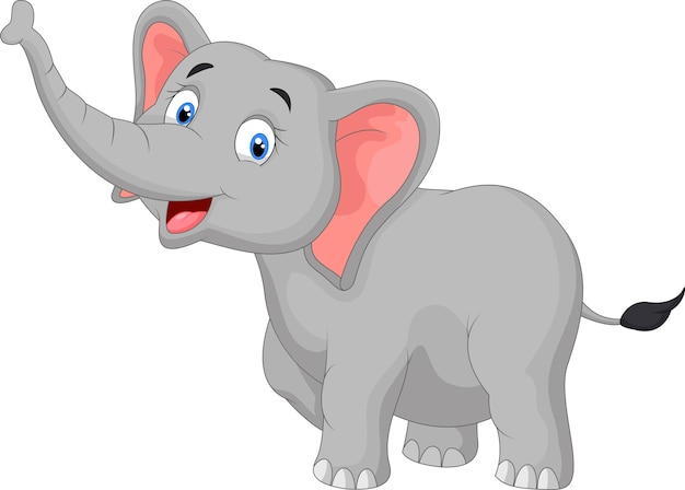 Caricature d'éléphant heureux