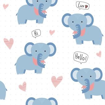 Caricature d'éléphant mignon avec motif sans soudure de points