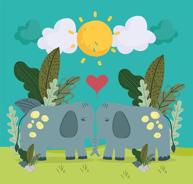 Caricature d'éléphants de couple