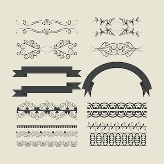 Caricature d'emblèmes de ruban décoratif