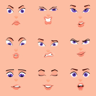Caricature d'émotions, style plat, yeux de visage féminin, sourcils et bouche