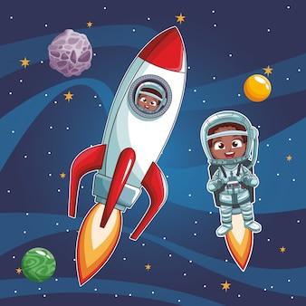 Caricature d'enfants astronautes