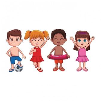 Caricature d'enfants d'été