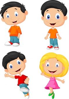 Caricature d'enfants heureux