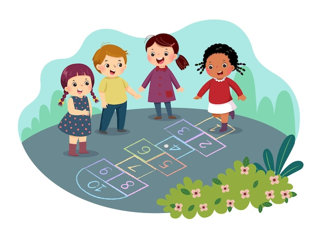 Caricature d'enfants jouant à la marelle dessiné avec une craie colorée