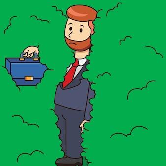 Caricature d'entrepreneur en faillite