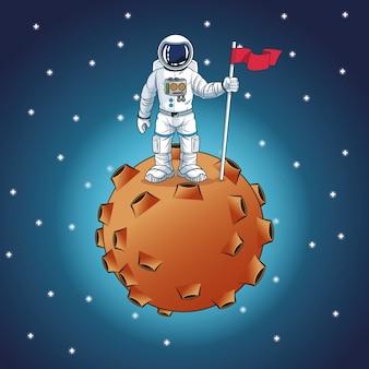 Caricature de l'espace astronaute