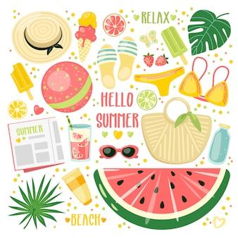 Caricature estivale avec accessoires de plage, glaces et boissons