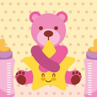 Caricature d'étreintes d'ours rose