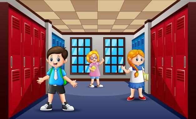 Caricature d'étudiant dans le couloir de l'école