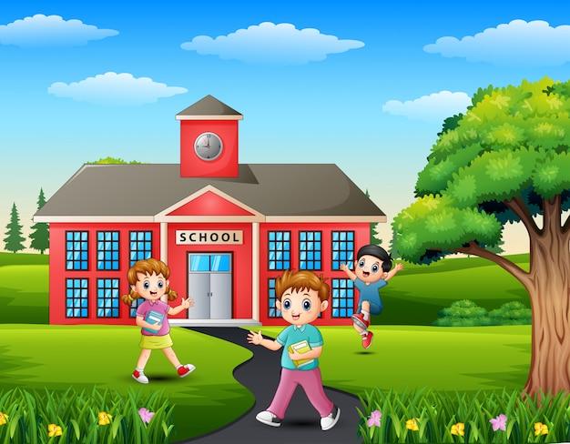 Caricature d'étudiant rentrant à la maison de l'école