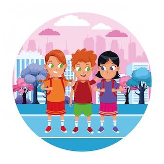 Caricature d'étudiants mignons enfance icône ronde