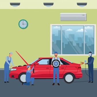 Caricature de fabrication de service de voiture