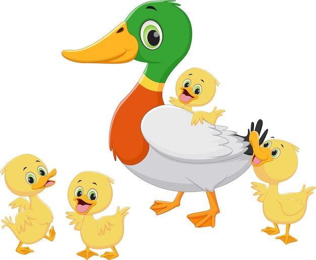 Caricature de famille de canard