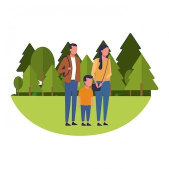 Caricature de famille et d'enfants