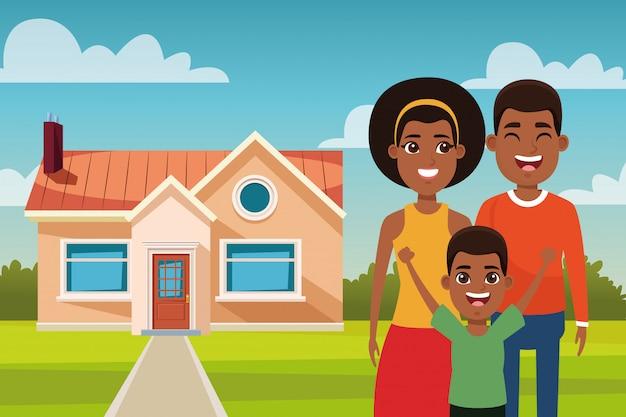 Caricature de famille à l'extérieur de la maison