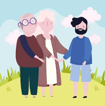 Caricature de famille de fils adultes grands-parents