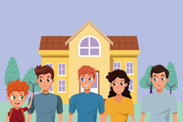Caricature de la famille des jeunes parents avec enfants
