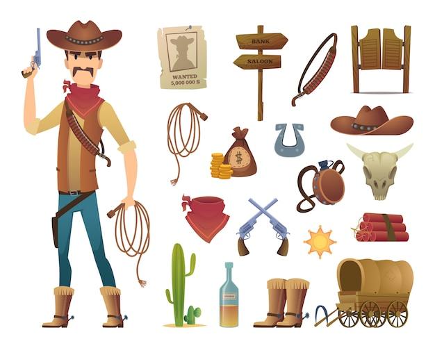 Caricature de far west. saloon cowboy western lasso symboles photos isolés