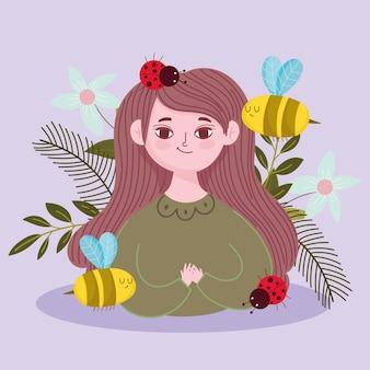 Caricature de femme avec des abeilles et des fleurs