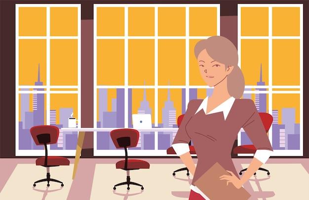 Caricature de femme d'affaires devant la conception de table de réunion de bureau, le thème de la mode et de la gestion des affaires