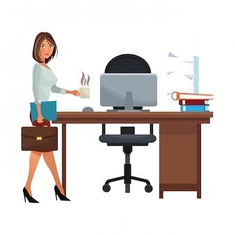 Caricature de femme d'affaires isolé