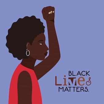 Caricature de femme afro noire avec le poing en vue de côté avec des vies noires compte la conception du texte de la justice de protestation et du racisme