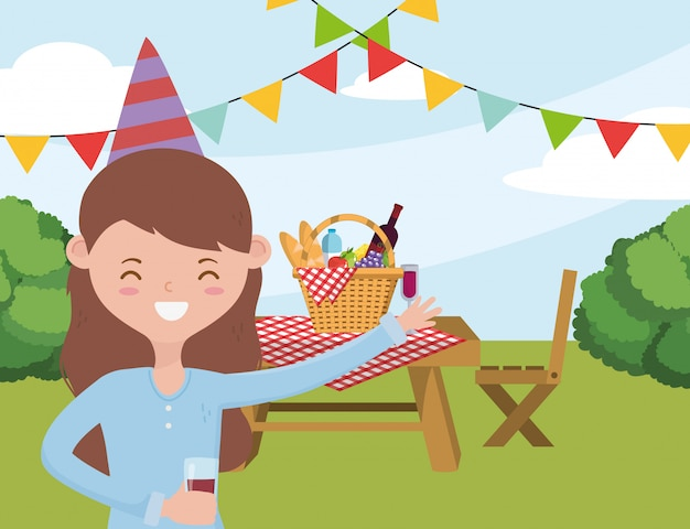 Caricature de femme ayant la conception de pique-nique, été fête en plein air été fête en plein air printemps sain et le thème de la nourriture