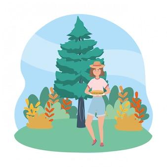 Caricature de femme ayant pique-nique