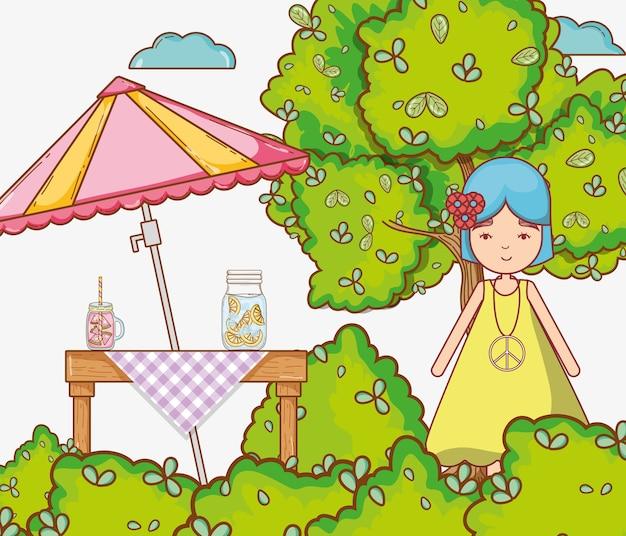 Caricature de femme hippie