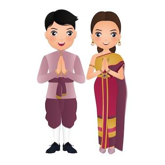 Caricature de femme et homme en costume de robe traditionnelle thaïlandaise.