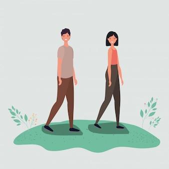 Caricature de femme et homme marchant avec la conception de vecteur de feuilles