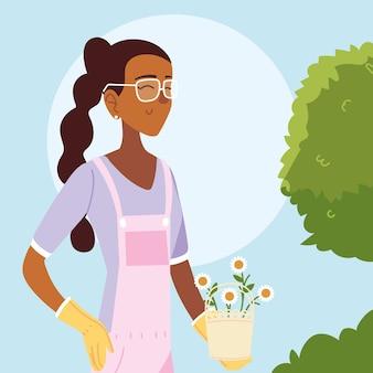 Caricature de femme jardinière avec conception globale de seau d'arbustes et de fleurs, plantation de jardin de jardinage et nature