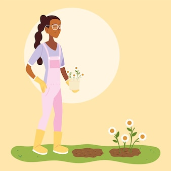 Caricature de femme jardinière avec conception de seau global et fleurs, plantation de jardin de jardinage et nature