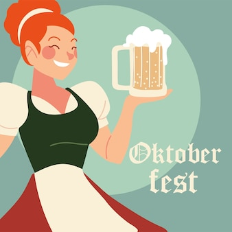 Caricature de femme oktoberfest avec illustration traditionnelle de tissu et de bière, thème du festival et de la célébration de l'allemagne
