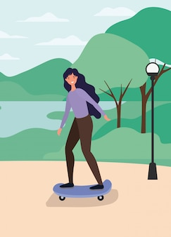 Caricature de femme sur planche à roulettes au parc avec la conception de vecteur de lampe