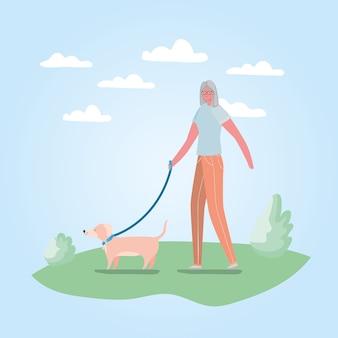 Caricature de femme senior avec chien à la conception du parc, thème de l'activité de plein air