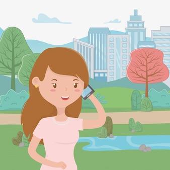 Caricature de femme avec smartphone