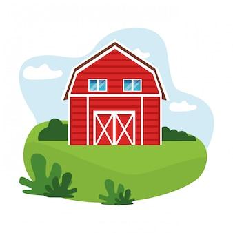 Caricature de ferme, animaux et fermier