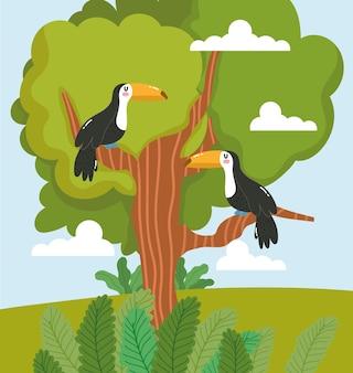 Caricature de feuillage arbre toucan animaux