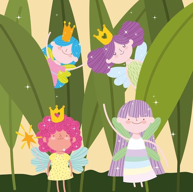 Caricature de feuillage floral mignon fée