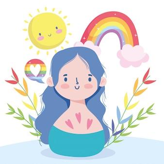 Caricature de fille avec arc-en-ciel lgtbi