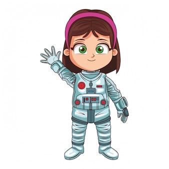 Caricature de fille astroanut