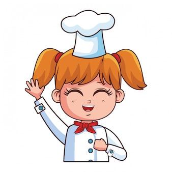 Caricature de fille de chef mignon