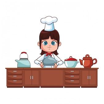Caricature de fille de chef