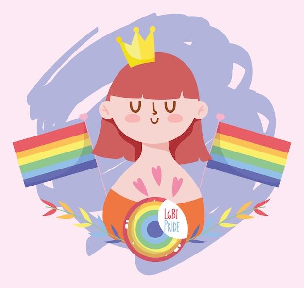 Caricature de fille avec la couronne et la conception de drapeaux lgtbi
