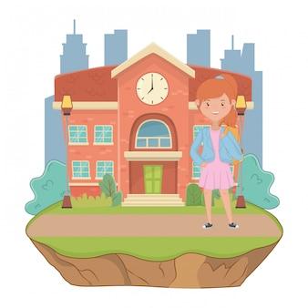 Caricature de fille de l'école