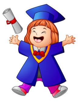Caricature de fille heureux graduation