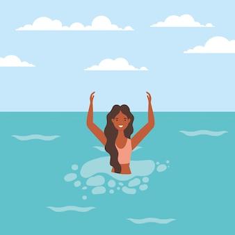 Caricature de fille avec maillot de bain dans la conception de vecteur de mer